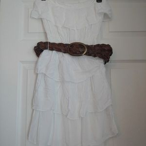 White strapless dress with brown belt